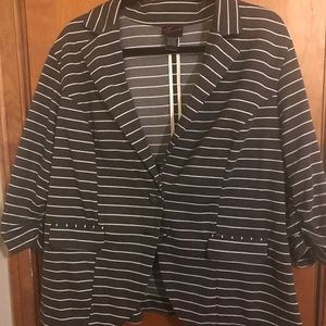 Torrid striped blazer w/ ruffle detail in back.
